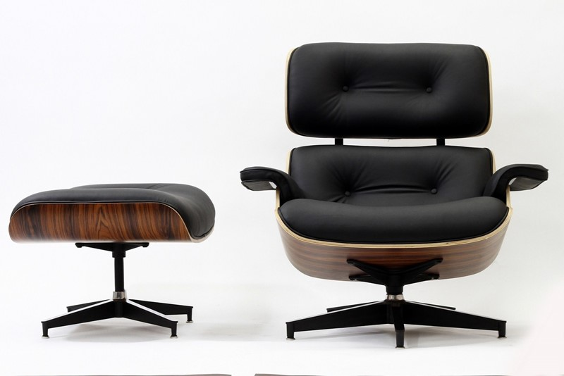 eames style lounge chair and ottoman dark rosewood tall plywood