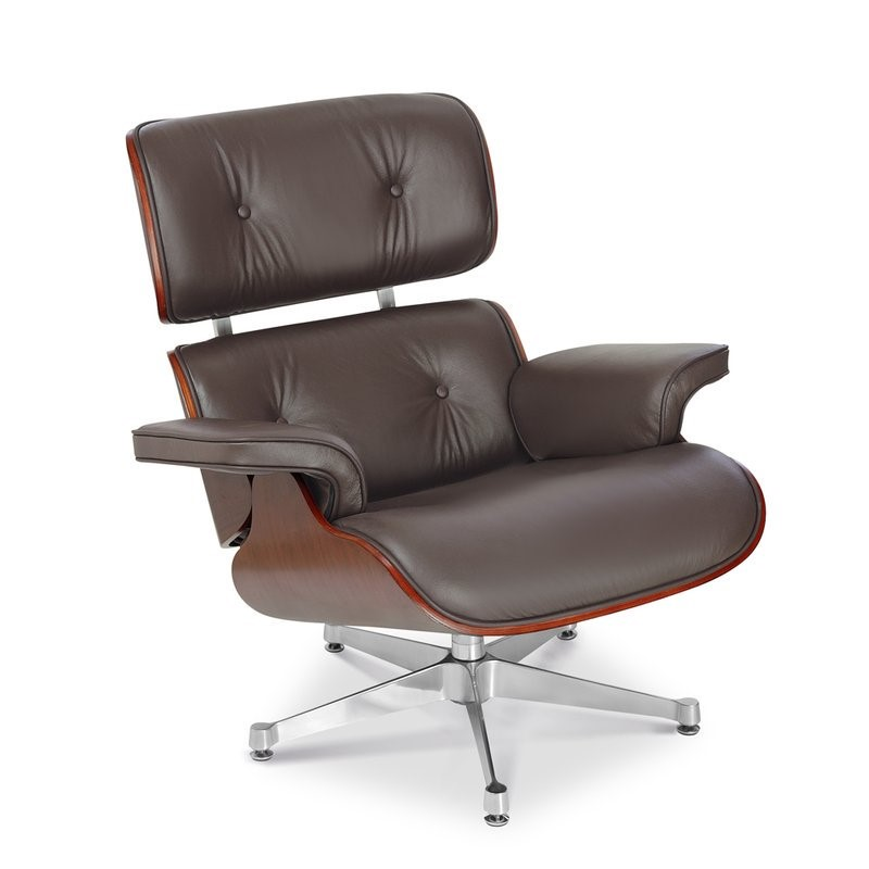Eames Style Lounge Chair And Ottoman Brown Cherry Plywood