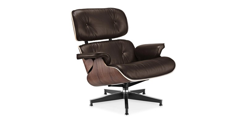 Eames style lounge chair and ottoman brown with walnut for Charles eames fake